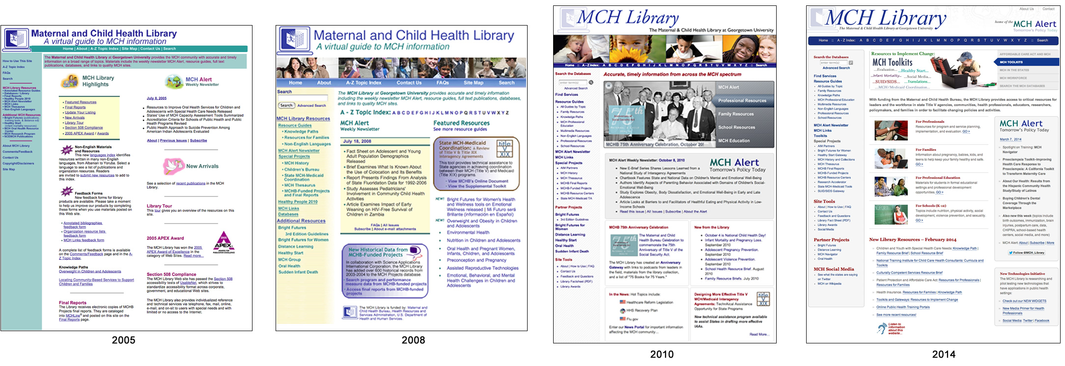 The MCH Library website over the years.